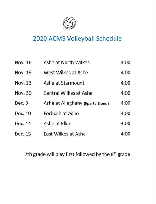 Fall 2020 Volleyball Schedule