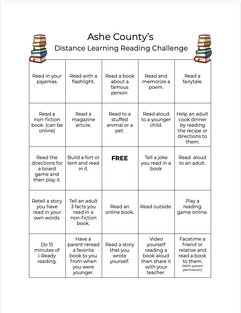 Ashe County's Distance Learning Reading Challenge