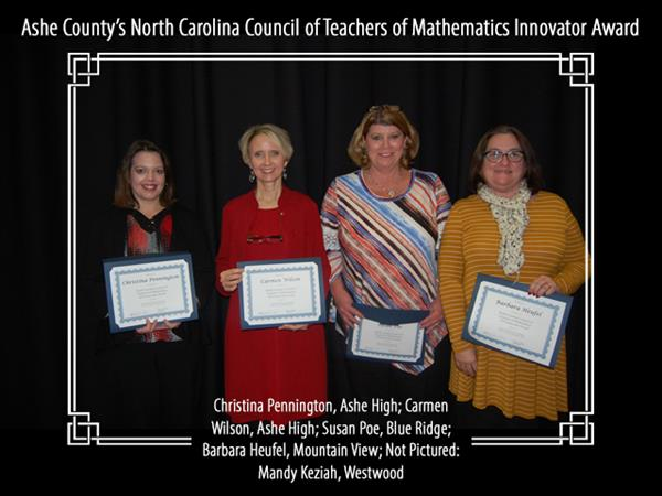 Ashe County's North Carolina Council of Teachers of Mathematics 2018 Innovator Award