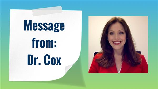 Message from Dr. Cox